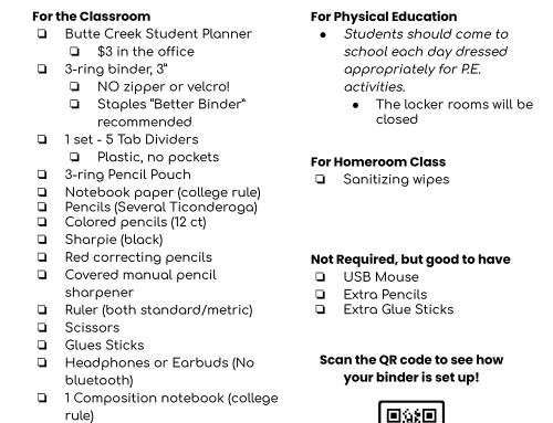 Middle School Supply List 20-21